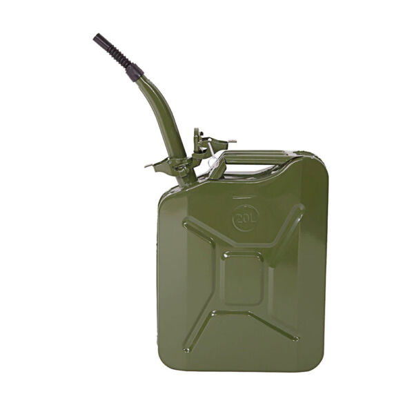 Fuel Can 5 Gal 20L Green Steel Gasoline Gas Fuel Tank Emergency Portable