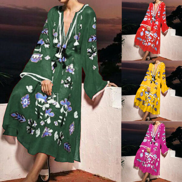 Women Fashion Bell Sleeve Long Maxi Dress Holiday Floral Ethnic Vintage Dresses