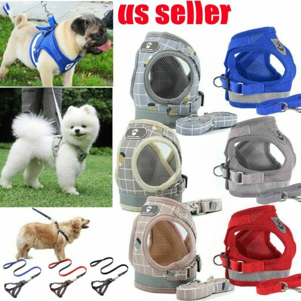 Pet Small Dog Puppy Harness And Leash Set Breathable Mesh Vest Chest Strap XS XL $8.92