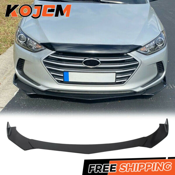 3 PCS Front Bumper Lip Splitter Spoiler Universal Adjustable Angle Black