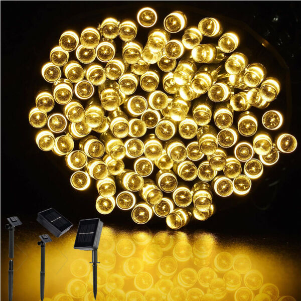 100200 LED Solar String Lights Outdoor Fairy Lighting Xmas Party Tree Decorate