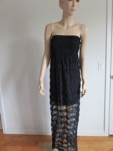 EVERLEIGH BLACK LACE SMOCKED STRAPLESS FESTIVE CLUB SUMMER MAXI DRESS SIZE XSS $10.79