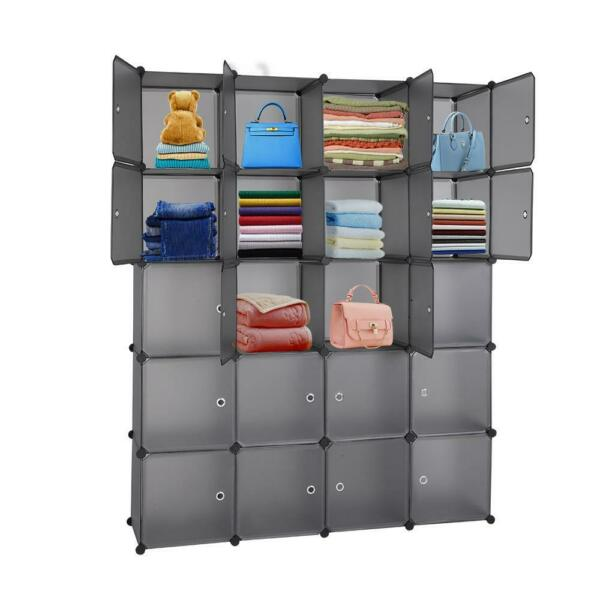 Home 20 Cube Wardrobe Cabinet Closet Clothes Storage Organizer Shoes Shelf Rack