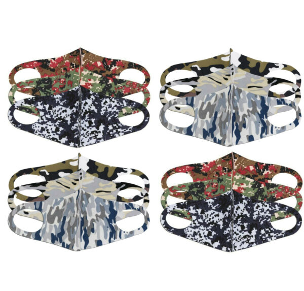 Lot of 12 Camo Reusable Cloth Face Cover Handmade Stretch Washable Masks