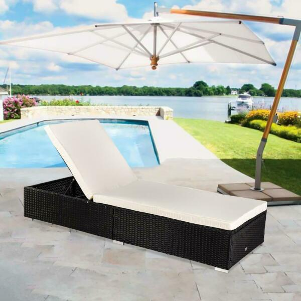 Adjustable Pool Chaise Lounge Chair Outdoor Patio Furniture PE Wicker W Cushion $149.99