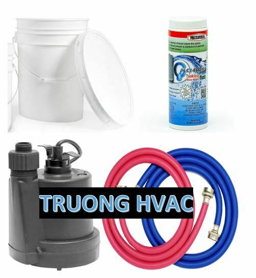 Electric Tankless Water Heater Flushing Descaling Kit Solution Pump Hose Bucket