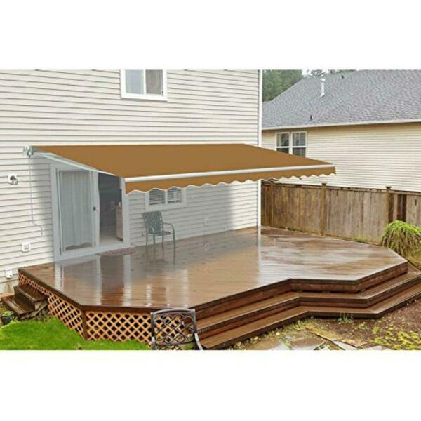 Manual Patio Retractable Awning 120 in. Projection Sand 12#x27; Decor Display Home