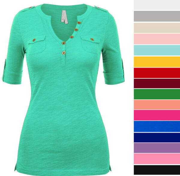 Women#x27;s Casual Cuffed 1 2 Sleeve V Neck Pocket T Shirt Top Soft Cotton Solid $14.99
