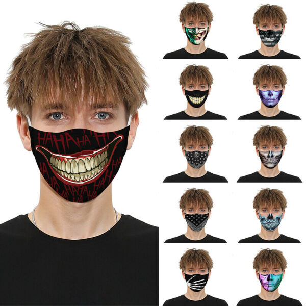 3D Printed Face Mask Fun Face Cover Washable&Reusable Outdoor Protection Unisex $8.69