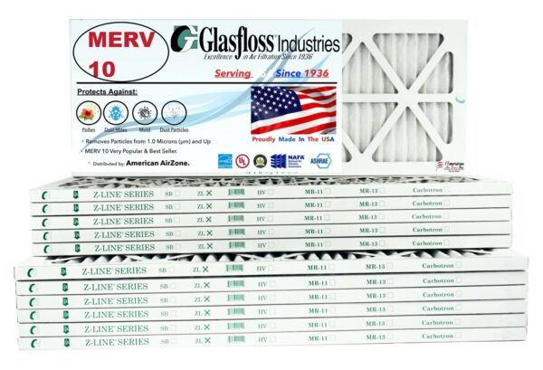 Glasfloss 10x30x1 MERV 10 Qty:12 Pleated Air Furnace Filter Made in USA $96.99