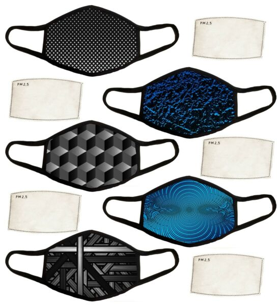 Face Mask + 20 PM 2.5 Carbon Filters Nose Wire and Filter Pocket Sport Fabric