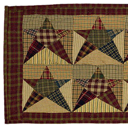 New Primitive Country Quilted REBECCAS PATCHWORK STAR TABLE RUNNER 36quot; $29.95