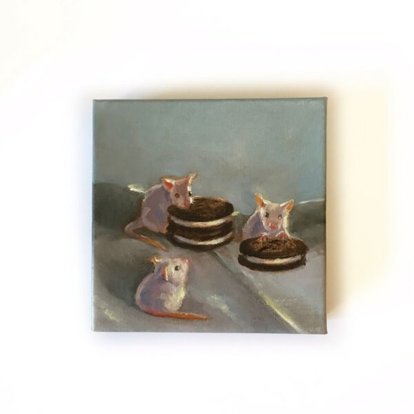 Original oil painting mice Mouse Cookies Art Listed By Artist American Animals