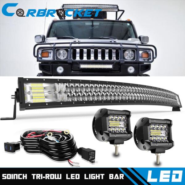 For 2006 2010 Hummer H3 Roof Windshield 50quot; Led Light Bar 4#x27;#x27; Cube Pods Wiring $103.94