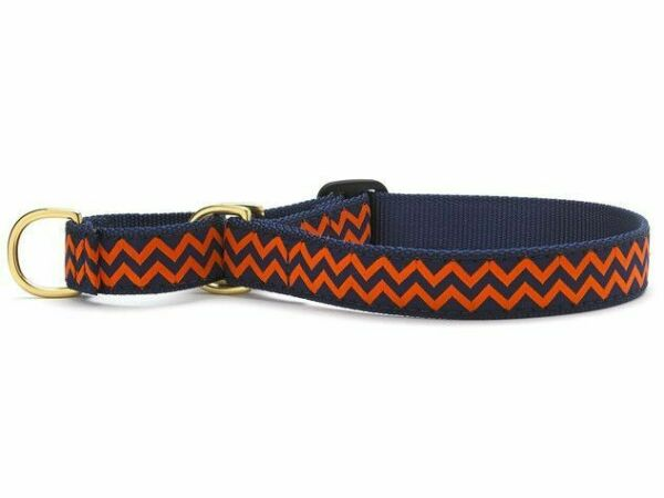 New NWT Up Country Dog Martingale Collar CHEVRON XL Thick 1quot; x18 23quot; Navy Orange $12.99