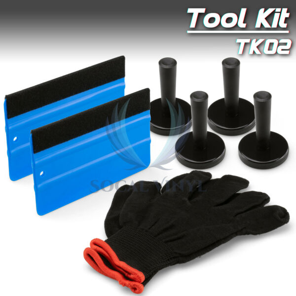 Eco Vehicle Wrap Vinyl Tools Kit Felt Squeegee Razor Wrapping Gloves 4 Magnets