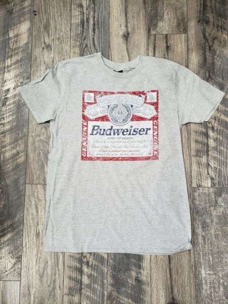 New Budweiser Shirt Adult large size L Gray Bud King Of Beers quot;vintage lookquot;