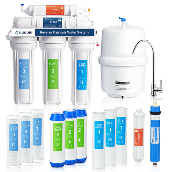 5 Stage Reverse Osmosis System Filter Out Viruses Extra 6 Water Filters 75 GPD