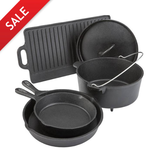 Pre Seasoned 5 Piece Cookware Set Cast Iron Dutch Skillets Pans Griddle Oven