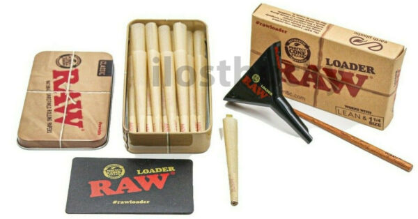 RAW 1 1 4 NATURAL CONES 25 COUNT LOADERStorage TIN $13.99