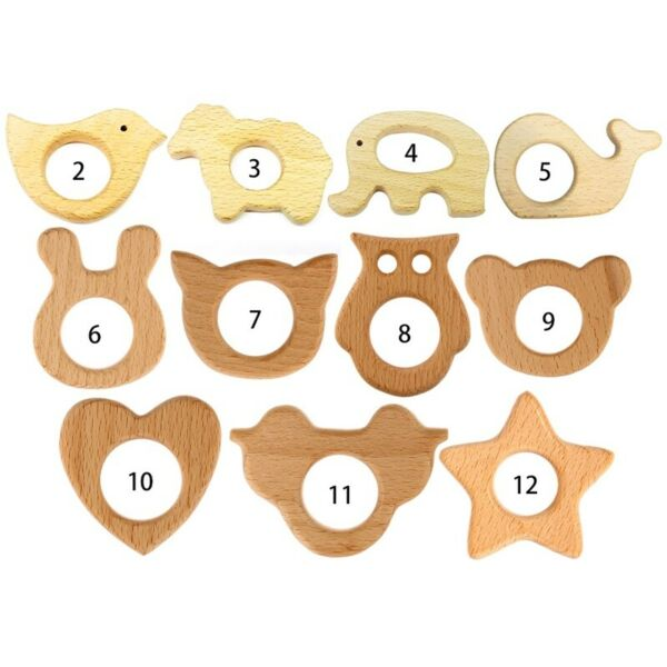 Wooden Animal Teether Teething Ring Natural Beech Wood Baby Rattle Vogue