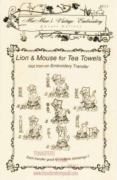 Moses Mouse amp; Jedi Lion for Tea Towels Hot Iron Embroidery Transfers $6.25