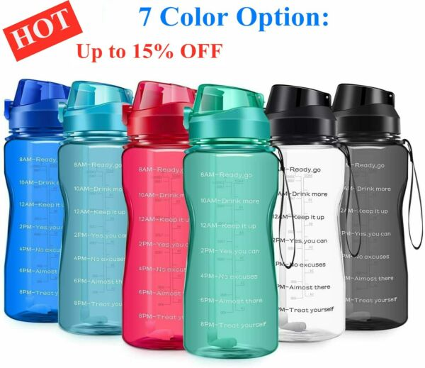 New Motivational Water Bottle 2.2L64oz Half Gallon Jug with Straw