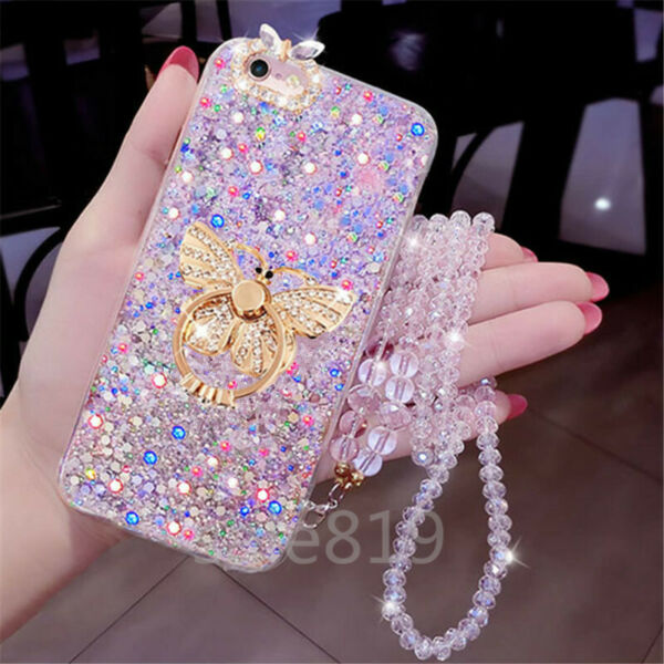 For LG Stylo 6 K51 K31 5 Case Bling Crystal Ring Stand With strap Glitter Soft $6.86