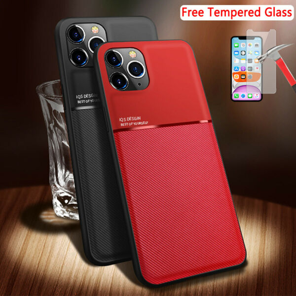 For iPhone 12 11 Pro Max XR XS 7 8 Plus Luxury TPU Silm Case With Tempered Glass $7.96