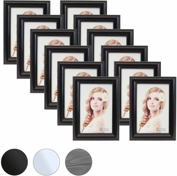 Houseables Picture Frame Set 12 Pack Black 4x6 Inches Wood Glass For Desk $22.99