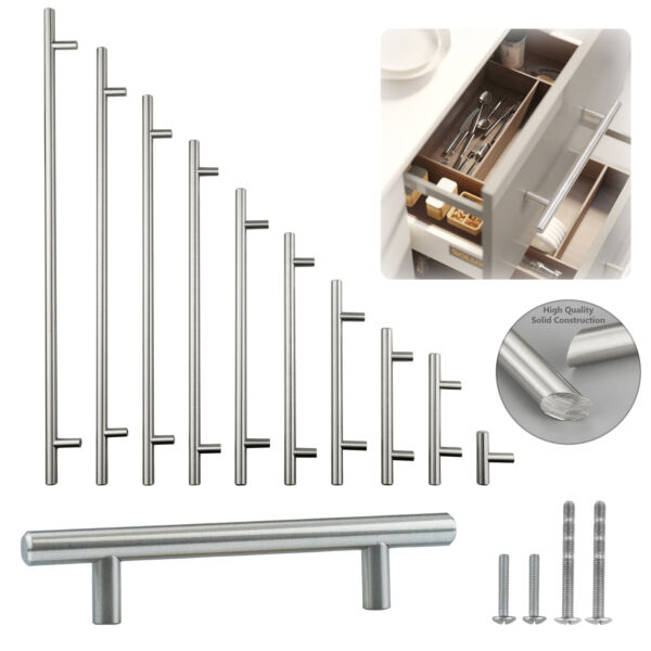 Solid Stainless Steel Brushed Nickel T Bar Pull Kitchen Cabinet Handle 2quot; 24quot;