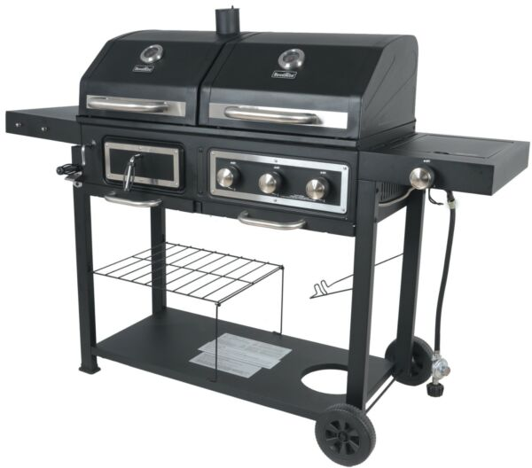 Charcoal Gas Grill Dual Fuel Combination BBQ Outdoor Cooking Burner Family Large