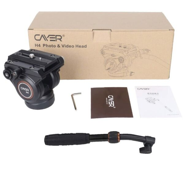Cayer H4 Video Fluid Head W 60mm Flat Base 2 section Ban Handle Bar