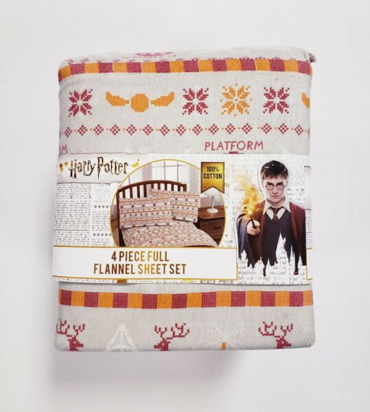 Harry Potter 100% Cotton Flannel 4 Piece Full Size Sheet Set Jay Franco