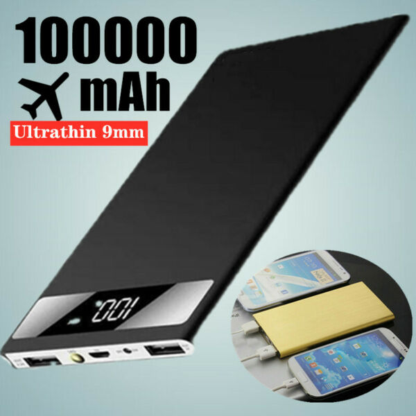 Ultra Thin 100000mAh Power Bank Charger Battery Pack Portable 2USB LED for Phone