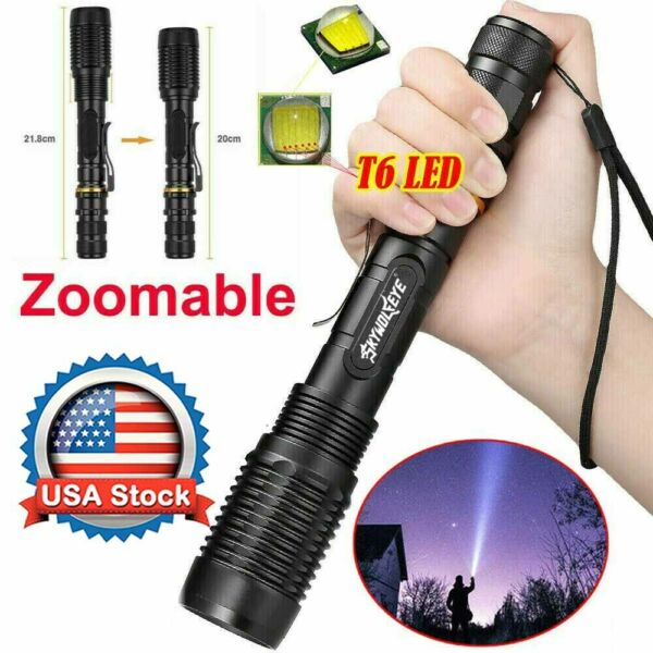 Tactical 350000LM Zoomable Police LED Powerful Flashlight 186*50 Torch USA