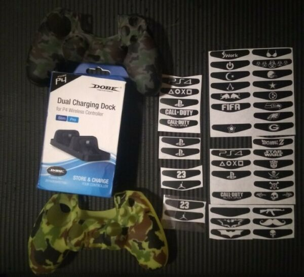 PS4 Controller package 2 Camo Skins 4Thumb Grips 2 LED stickers charger