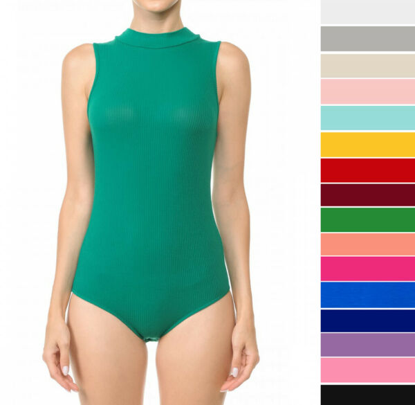 Women's Mock Neck Sleeveless Bodysuit Stretch Rayon Knit Fitted Solid Plain Top