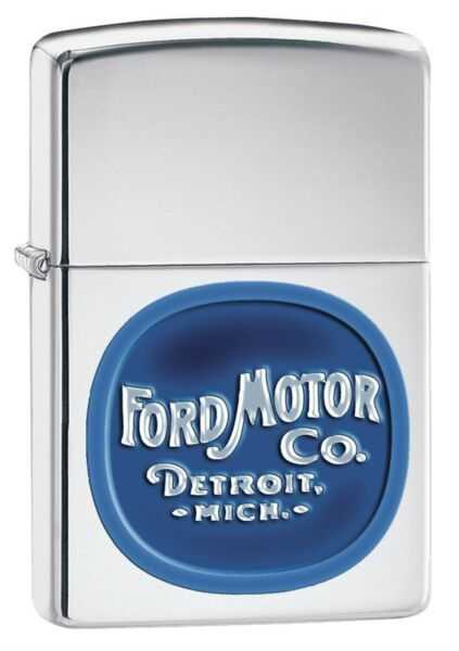 Zippo Lighter: Vintage Ford Motor Co. Logo High Polish Chrome 76167