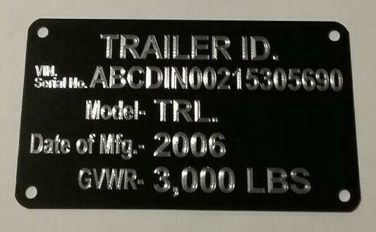 Engraved Black Trailer ID Data Plate Tag VIN Plate