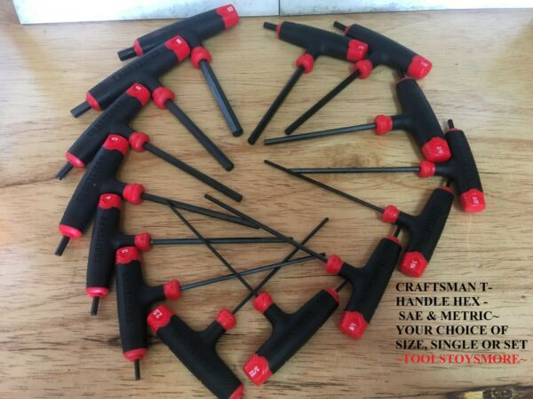 NEW CRAFTSMAN T THROUGH HANDLE HEX KEY ALLEN SAE METRIC CHOICE OF SIZE OR SET $62.88