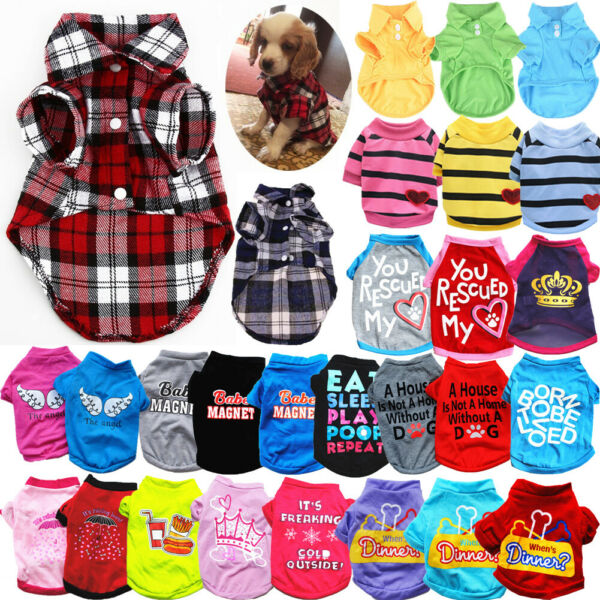 Cute Pet Cat Dog Plaid Shirts Clothes for Puppy Chihuahua Summer Vest T shirts $2.99