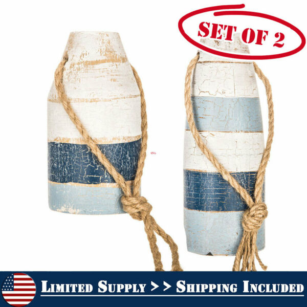 Rustic Vintage Set of 2 Wooden Nautical Small Blue and White Buoys Decor LS New $35.45