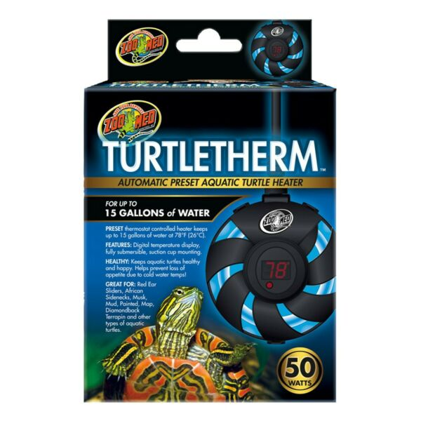 ZOO MED TURTLETHERM AUTOMATIC PRESET AQUATIC TURTLE HEATER 50 WATTS $18.95