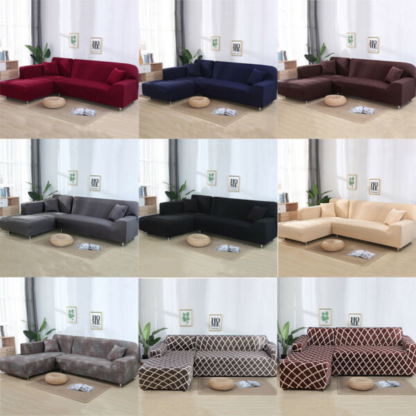 2pcs Sofa Covers Polyester Fabric Stretch Slipcovers for L Shape Sectional sofa $58.99