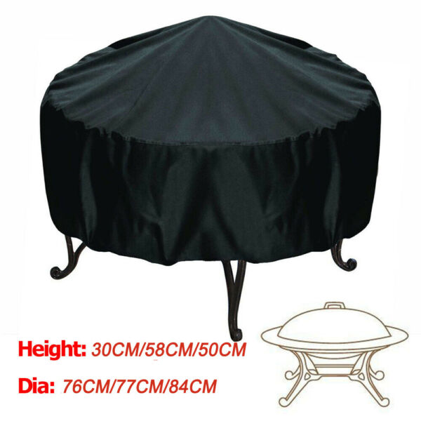 Patio Round Fire Pit Cover Waterproof UV Protector Grill BBQ Cover Black 30 33quot; $12.25