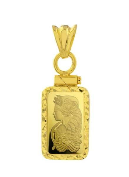 Pamp Suisse Fortuna 1 Gram Bar Pendant with 14K Gold Screw Top Diamond Cut Bezel