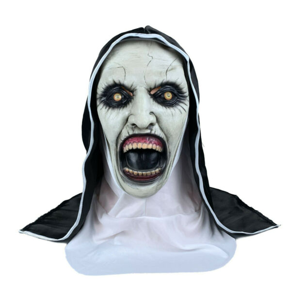 The Scary Open Mouth Nun Latex Mask w Headscarf Horror Cosplay Halloween Costume