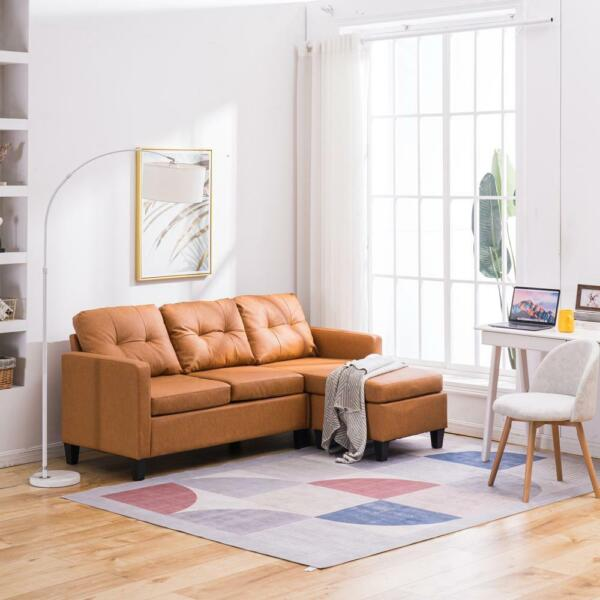 Convertible Sectional Sofa Couch L-Shaped Home Furniture wCushion Light Brown $286.99