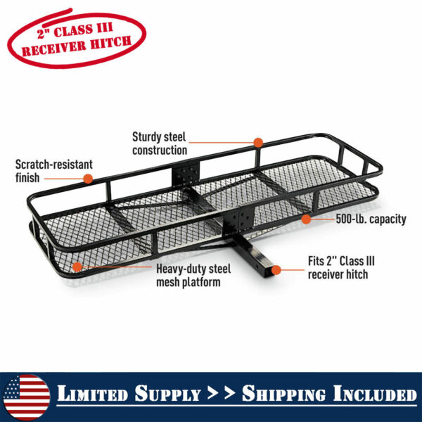 2quot; Hitch Mount Cargo Carrier Steel Basket Luggage Receiver Rack Hauler 500 lbs $96.95